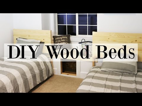 Boy's Bedroom Makeover Week! DIY Wooden Beds - Twin Size Frames & Headboard