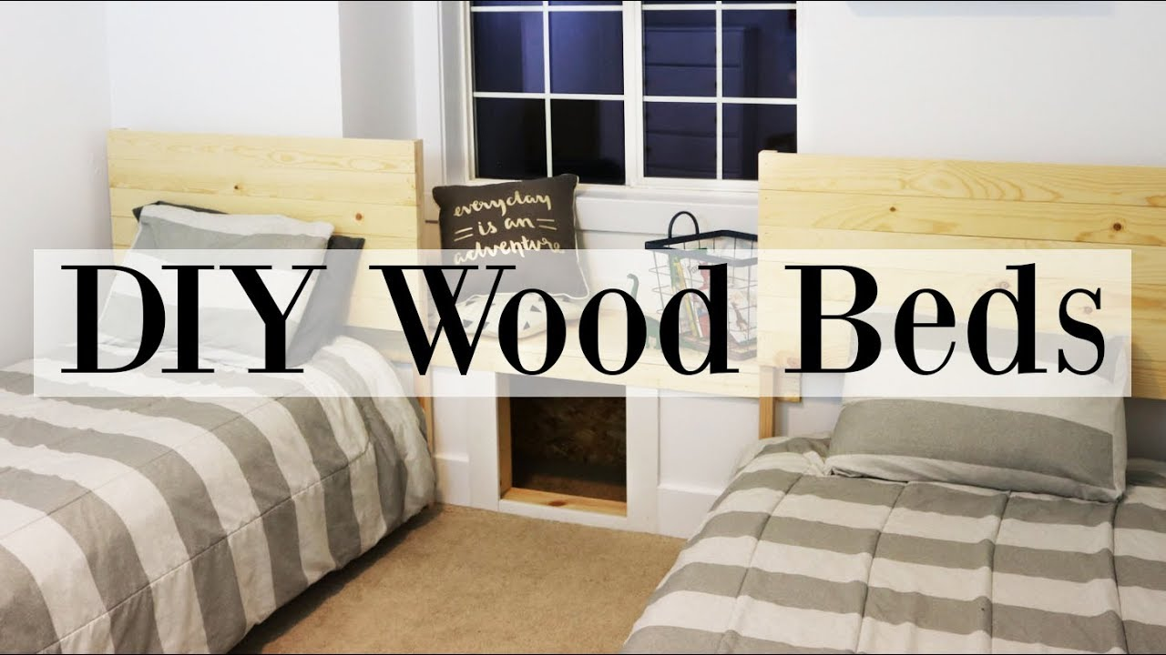 Boyu0027s Bedroom Makeover Week! DIY Wooden Beds   Twin Size Frames U0026 Headboard