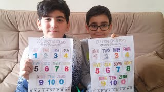 Buğra & Utku ingilizce sayıları boyayarak öğretiyor, Learn numbers for kids
