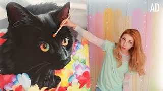 Painting a Giant Rainbow Cat