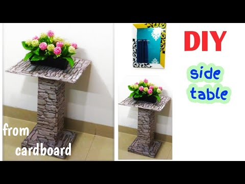 How to make side table from cardboard/DIY table /craft from cardboard boxes