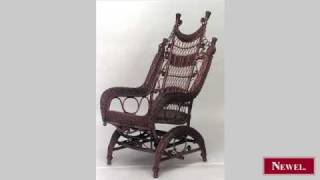Antique American Victorian Natural Wicker Ornate High Back
