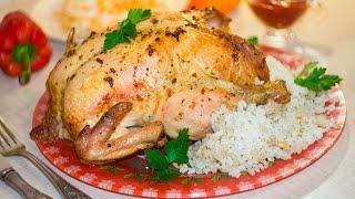 Курица фаршированная рисом в духовке