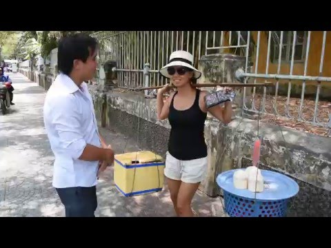 Getting Scammed By A Street Vendor Of Fresh Coconuts In Saigon, Vietnam