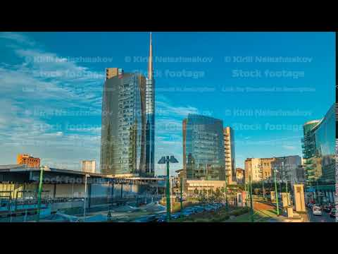 Milan skyline with modern skyscrapers in Porta Nuova business district timelapse in Milan, Italy, at