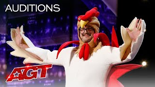 Hilarious Chicken Tells Funny Jokes! Eggcellent Puns Galore! - America's Got Talent 2020