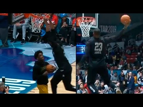LeBron James & Zaire Wade Slam Dunk Contest! NBA All Star Game Practice!