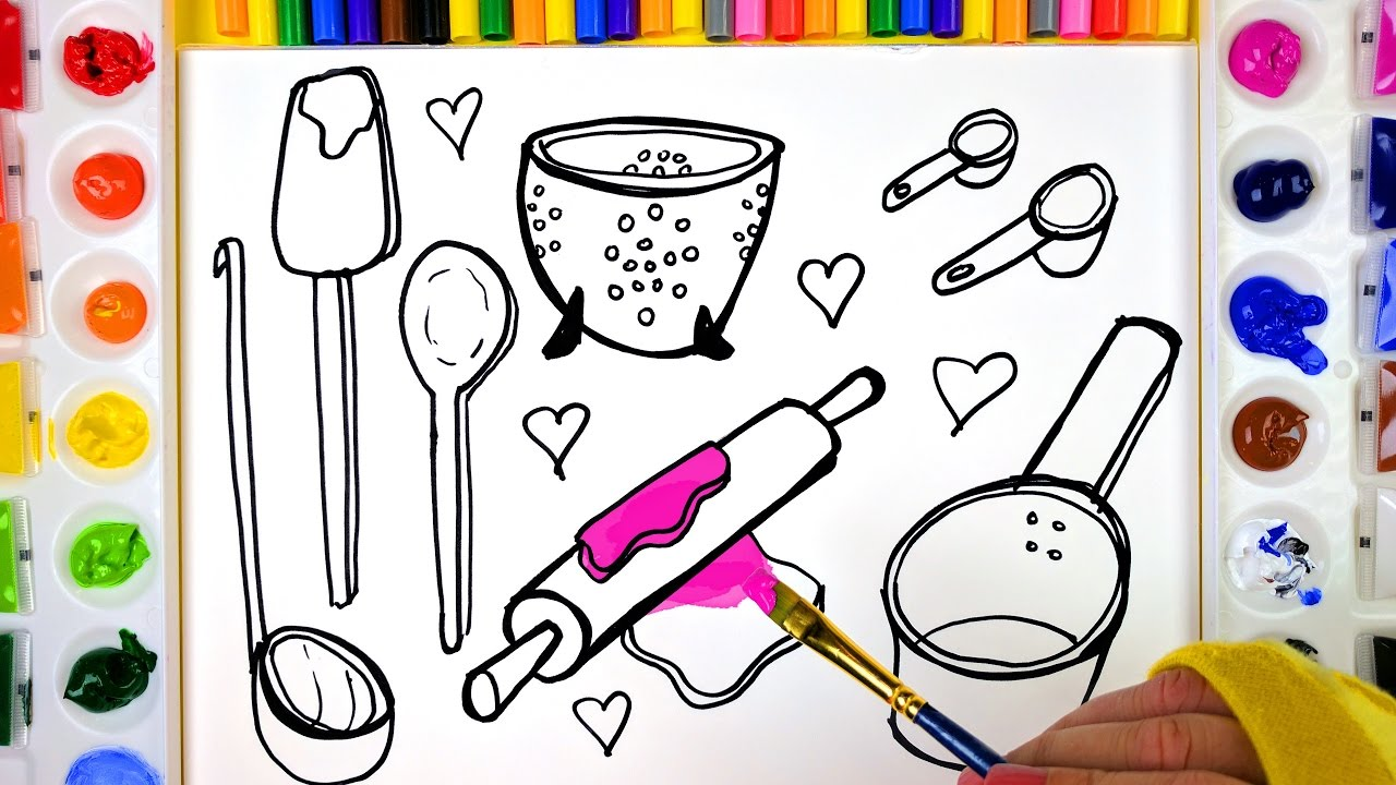 Coloring and Painting Kitchen Tools Coloring Pages for Kids to