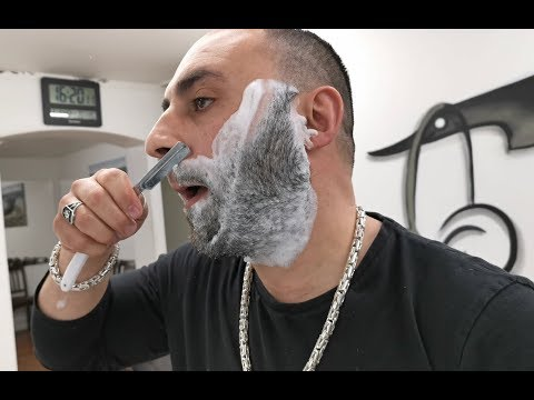 BARBER TURKO DOING WET SHAVE WITH CUT TROAT RAZOR AND HOT TOWEL WAX ASMR