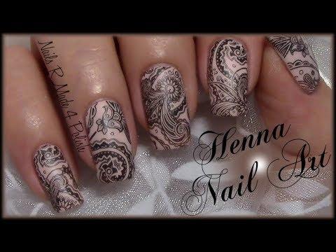 henna nail art design nude nails