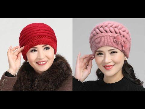 Красивые вязаные шапки для женщин спицами
