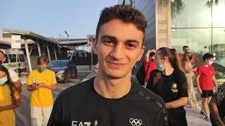 Vito Dell'Aquila, medaglia d'oro alle Olimpiadi torna a casa ( intervista aeroporto di Brindisi)
