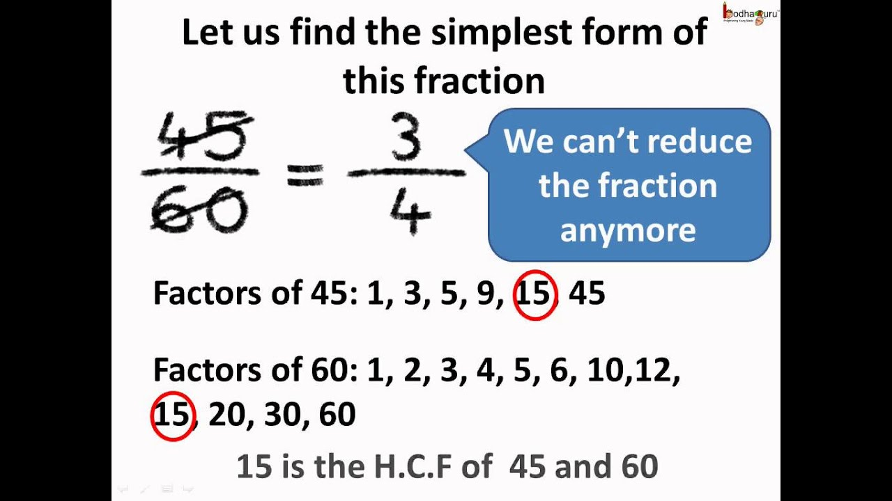 simplest form in hindi  Maths - भिन्नों का सरलतम रूप Fractions in Simplest form - Hindi