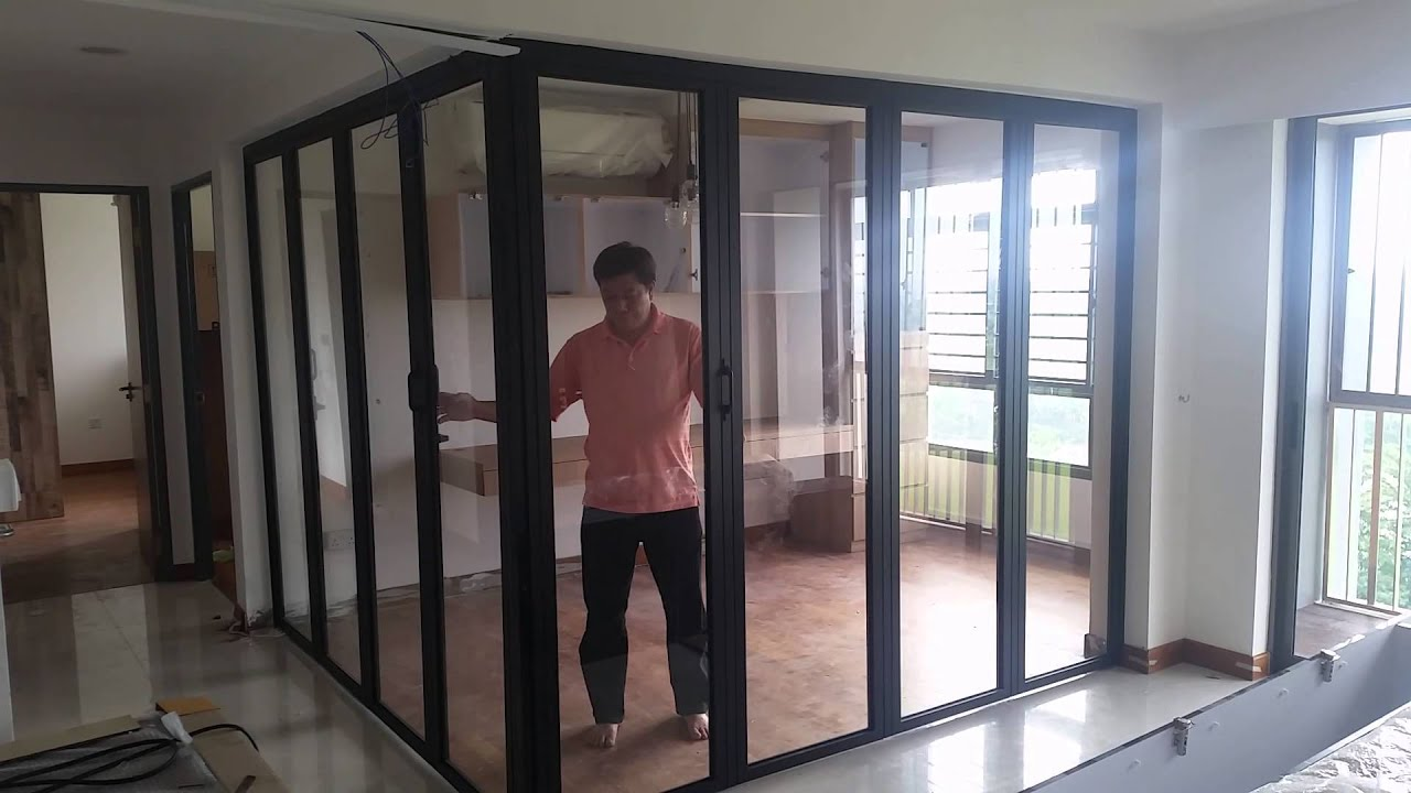 L Shape 90 Degrees Folding Door Youtube