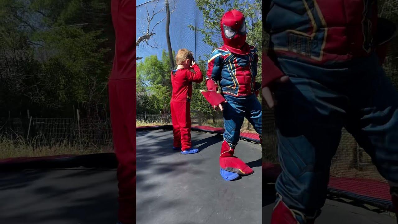 Superheroes on the trampoline!