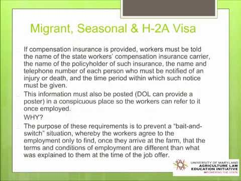 Migrant, Seasonal and H-2A Visa Workers