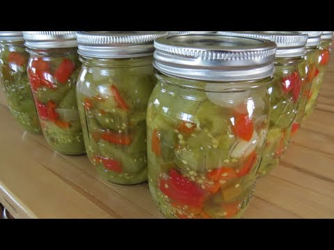Canning Pickled  Green Tomato -Pepper Mix
