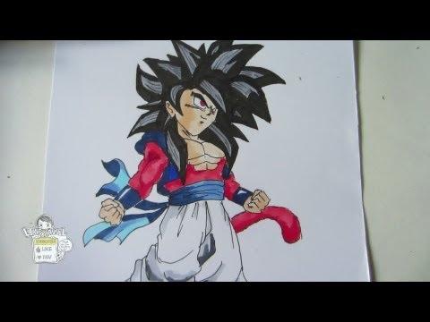 How to draw Gotenks super saiyan 4 SSJ4 ゴテンクス 超サイヤ人4