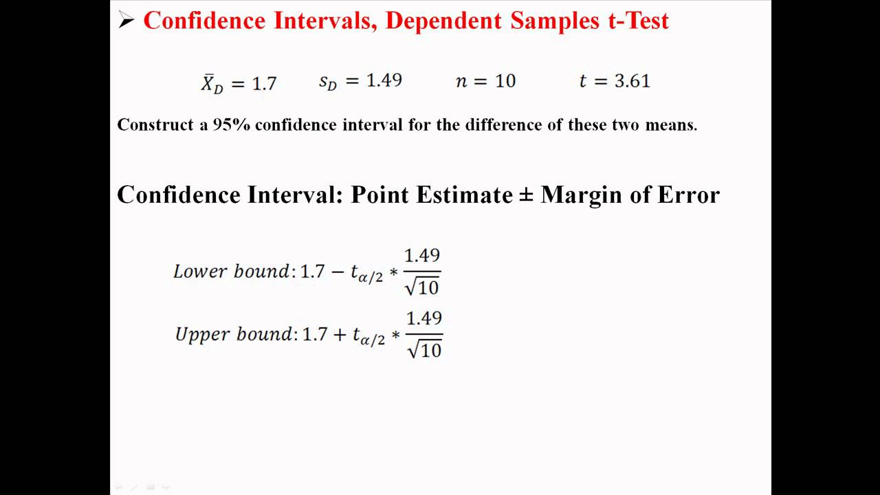 Confidence Intervals for Dependent Samples t-Test - YouTube