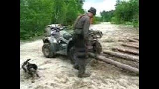 logging with an atv or 4 wheeler le bchage avec un quad 1