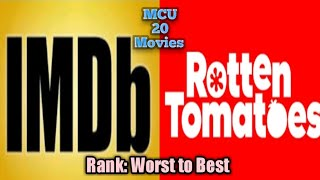 Rank All 20 MCU Movies from IMDb and rotten tomatoes ratings (Worst to Best)