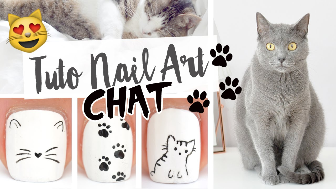Tuto nail art chat d 39 amour youtube - Nail art chat ...