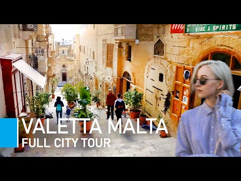 [4K] VALLETTA, MALTA WALKING TOUR - St George's Square to Triton Fountain