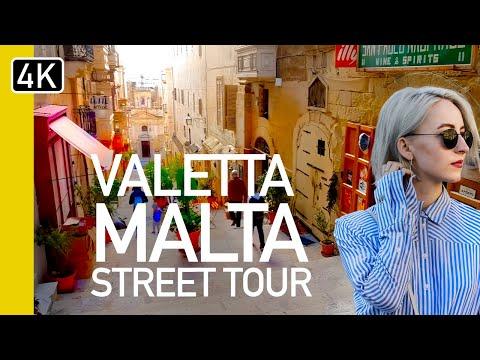 【4K】VALLETTA, MALTA WINTER WALK - St George's Square To The Triton Fountain