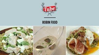 "ROBINFOOD / Ensalada ""sana culito de rana"" + Crema capuchina + Guisantes ""salida de emergencia"""