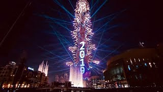 Dubai UAE Burj Khalifa Laser Show & Fireworks 2019 New Year Celebration I HD