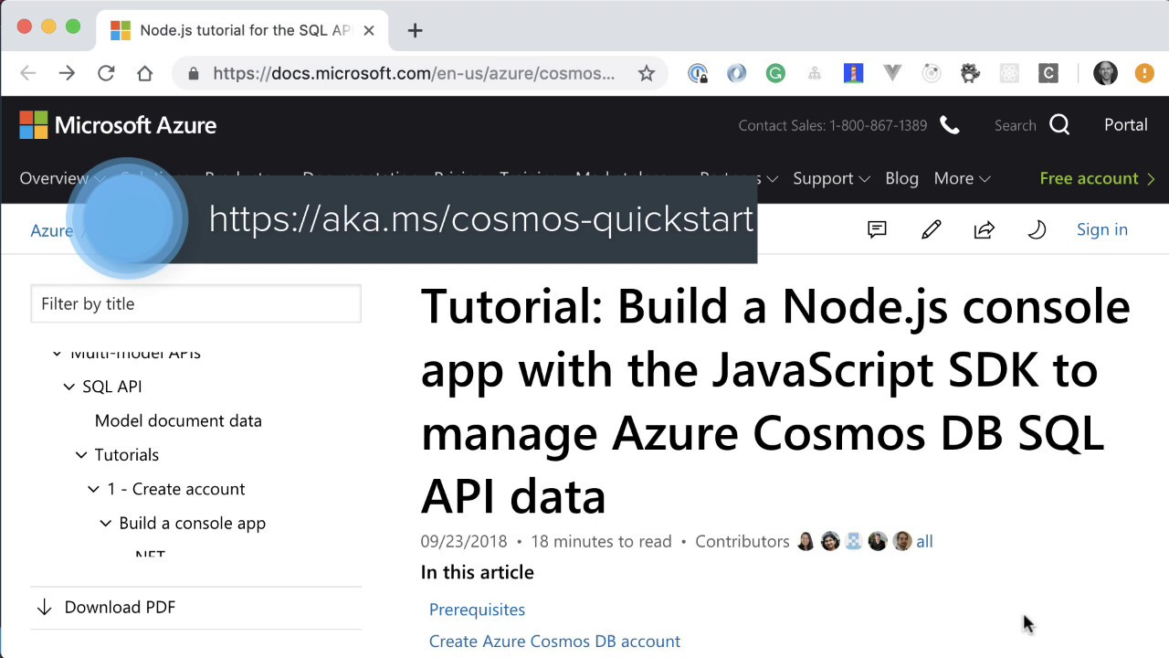 Node js app with the npm SDK to talk to the Cosmos DB SQL API