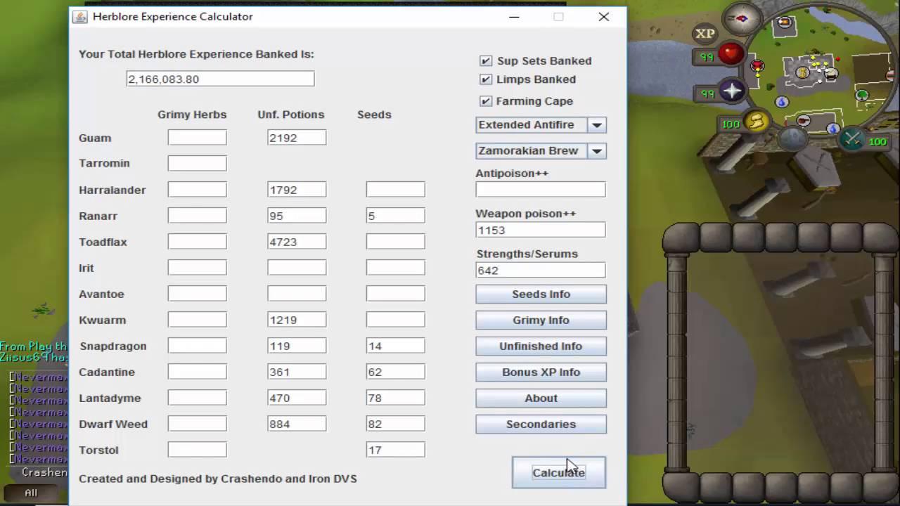 Old School RuneScape Ironman Herblore Experience Calculator