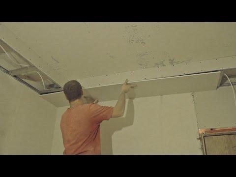 Как провести монтаж гипсокартона для подвесного потолка