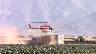 Helicopter Crop Duster - Dusting Fields, Truck Landing, and Flyby