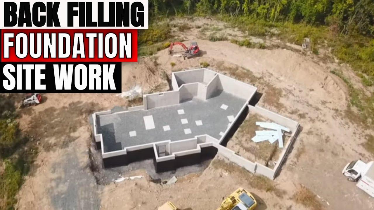 Back filling a house foundation with Kobelco SK160-6E and Komatsu D51PX22 dozer