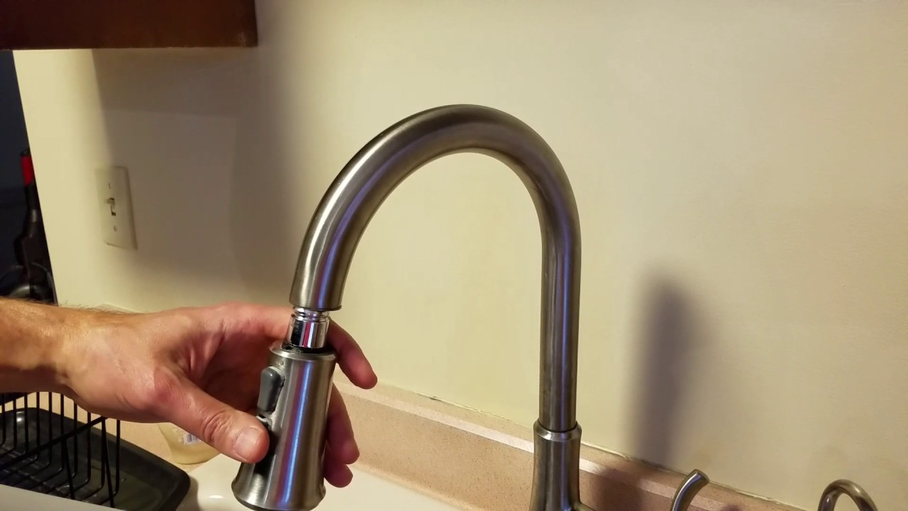 Price Pfister kitchen faucet repair. Pull down spray nozzle. - YouTube