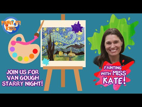Drawing for kids – Painting for kids – Learn to Paint Van Gough's Starry Night – art for kids