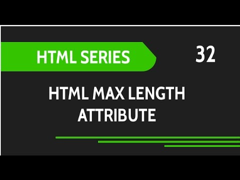 HTML Web Design Tutorials: HTML Max Length Attribute For Input Fields Lesson 32