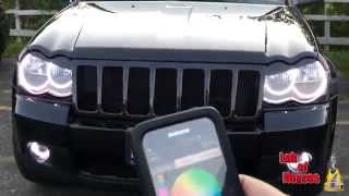 Smartphone Controlled LED Headlights for Cars(Jeep with headlight ring that can be controlled by smartphone., 2014-08-26T07:33:40.000Z)
