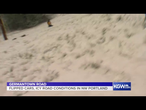 Flipped cars, icy road conditions on Germantown Road in Northwest Portland  (Part I)