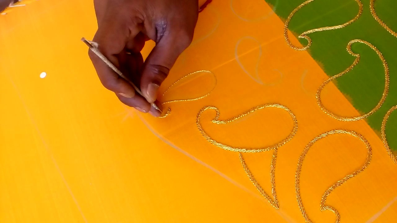 how to do zari outline for mango design for maggamhand work blouses