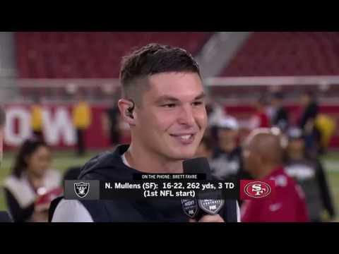 Nick Mullens Gets Emotional, Talks to Brett Favre After Win in NFL Debut