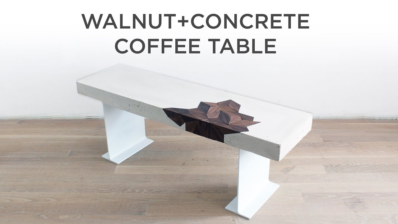 Concrete Coffee Table with a Walnut Inlay - YouTube