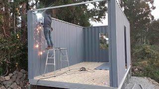 컨테이너(농막) 1  (3.5m x6m, 높이 3000). 400mm 높은 하이큐빅 /How to build a container house #1