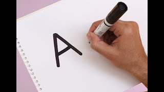 "How to turn Letter ""A"" into a Cartoon KITE ! Fun with Alphabets Drawing for kids"