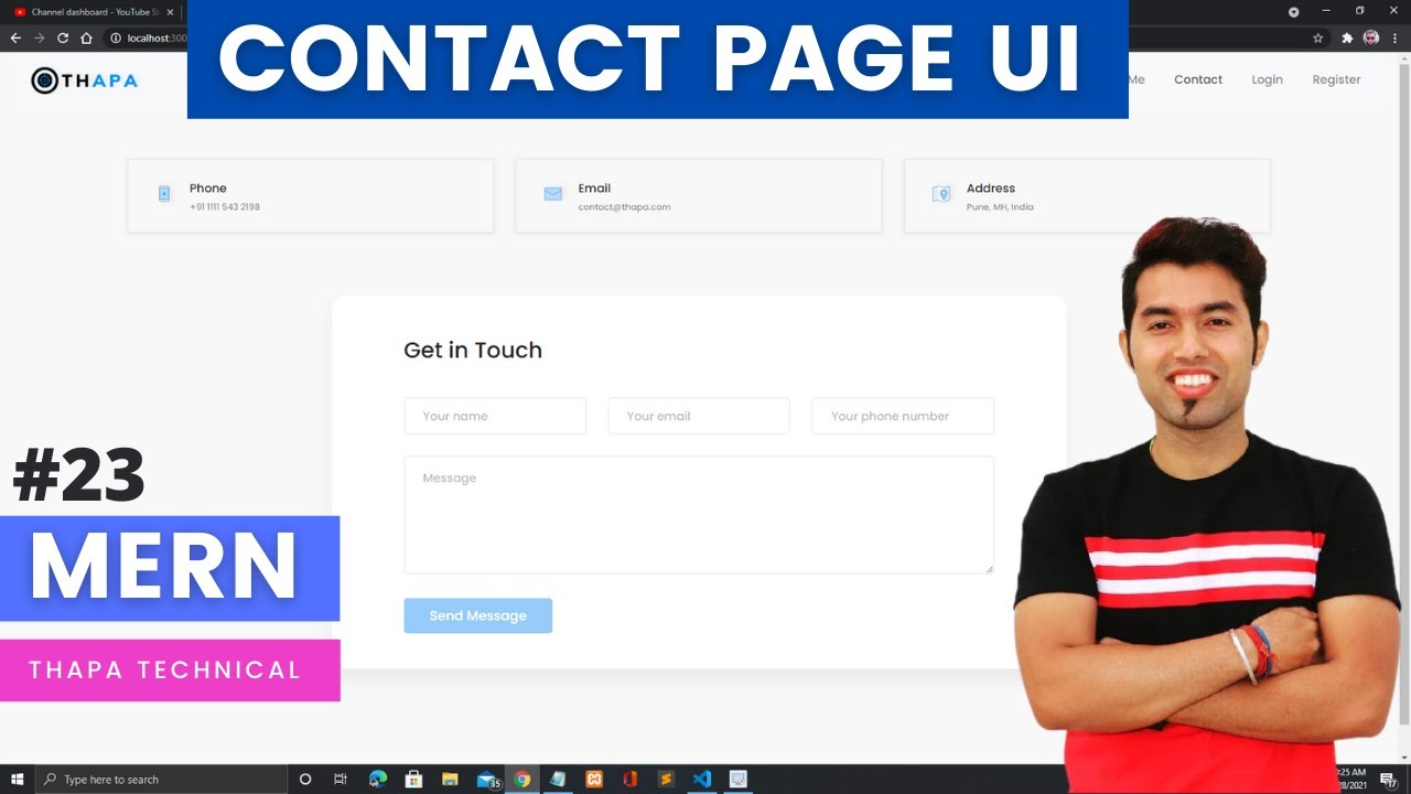 Create Contact Page UI using ReactJS in MERN STACK PROJECT