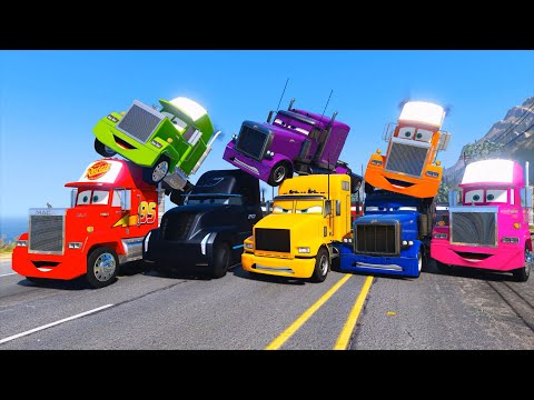 Thumbnail: Street Race Color Trucks CARS 3 Mack Gale Beaufort Jerry McQueen and Friends Videos for kids & Songs