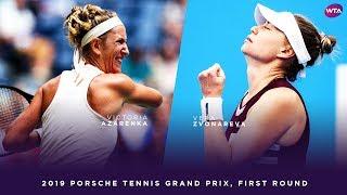 Victoria Azarenka vs. Vera Zvonareva | 2019 Porsche Tennis Grand Prix First Round | WTA Highlights