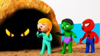 SUPERHERO BABIES FIND SOMETHING IN THE CAVE ❤ Superhero Babies Play Doh Cartoons For Kids