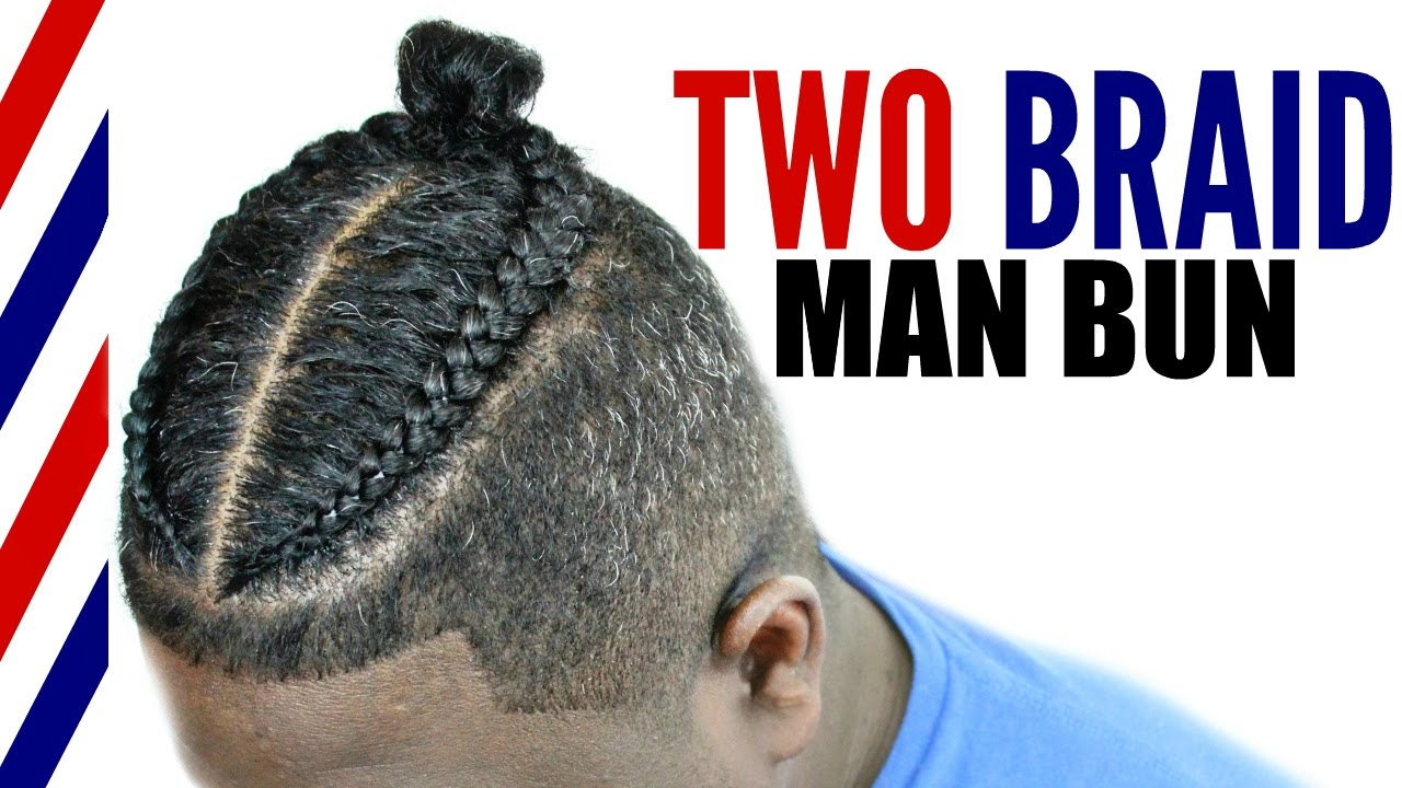 Two Braid Man Bun Tutorial Men S Natural Curly Hair Youtube